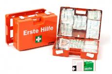 LEINA - 82103  Erste-Hilfe-Koffer SAN, orange, mit Füllung DIN 13169 DRK
