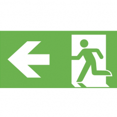 Fluchtweg links und Richtungsgfpeil, E001+E005, PVC-Folie, 400 x 200 mm