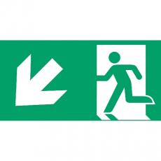 Fluchtweg abwärts links, Richtungspfeil, E001+E006, PVC-Folie, 400 x 200 mm