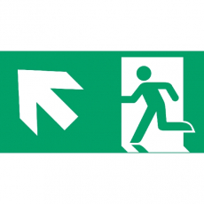 Fluchtweg aufwärts links, Richtungspfeil, E001+E006, Aluminium, 300 x 150 mm