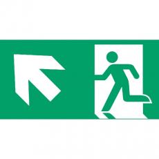 Fluchtweg aufwärts links, Richtungspfeil, E001+E006, Aluminium, 400 x 200 mm