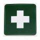 LEINA - Rettungszeichen, weißes Kreuz auf grünem Grund, 100 x 100 mm