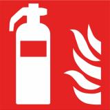 Brandschutzzeichen Feuerlöscher, F001, PVC-Folie, selbstklebend, 150 x 150 mm