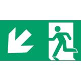 Fluchtweg abwärts links, Richtungspfeil, E001+E006, Aluminium, 300 x 150 mm