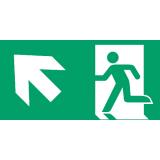 Fluchtweg aufwärts links, Richtungspfeil, E001+E006, PVC-Folie, 300 x 150 mm
