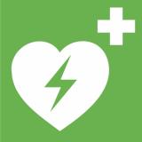 Rettungszeichen Defibrillator (AED) E010, PVC-Folie, selbstklebend, langnachleuchtend, 150 x 150 mm