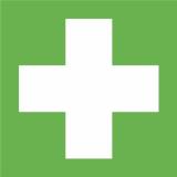 Rettungszeichen Erste Hilfe, E003, PVC-Folie, selbstklebend, langnachleuchtend, 200 x 200 mm
